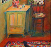 """Hallway entrance"", Dachshund on a persian rug by Mary Taylor"