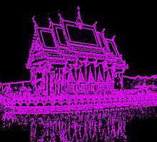 Buddhist temple with Neon filter by Matt Nolan