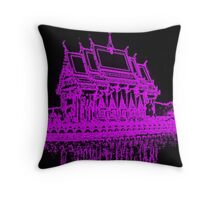 Buddhist temple with Neon filter Throw Pillow