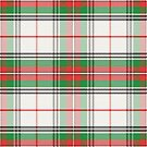 White, red and green scottish plaid tartan by Tee Brain Creative