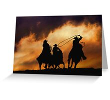 3 Cowboys Roping Sunset Greeting Card