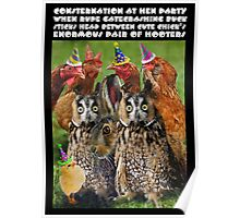 CONSTERNATION AT HEN PARTY WHEN RUDE GATECRASHING BUCK STICKS HEAD BETWEEN CUTE CHICK'S ENORMOUS PAIR OF HOOTERS Poster