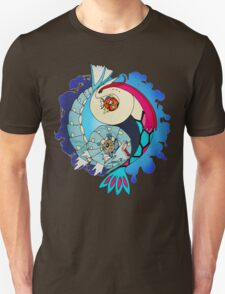 Paint-Splattered Aquatic Yin Yang - Milotic & Gyarados T-Shirt