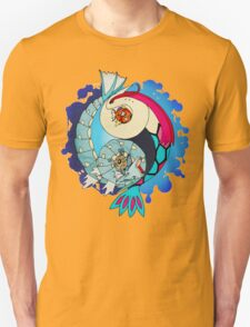 Paint-Splattered Aquatic Yin Yang - Milotic & Gyarados T-Shirt