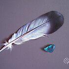 Feather and sea glass #1 by Elena Kolotusha