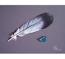 Feather and sea glass #1 Photographic Print