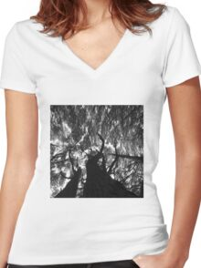 In black and white Stunning Trees  Women's Fitted V-Neck T-Shirt