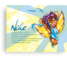 Chibi Nike - Greek Gods, Blue Series Canvas Print
