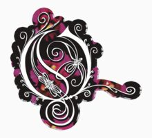LATTICE LETTER O - black metal orchid sticker by sleepingmurder