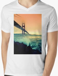 Golden Gate Pink Dusk Mens V-Neck T-Shirt