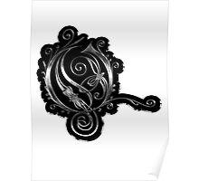 LATTICE LETTER O - black metal metal sticker Poster