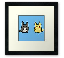 Totoro and Pikachu Framed Print