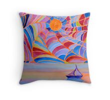 Lost Sailboat in the Bermuda Web Throw Pillow
