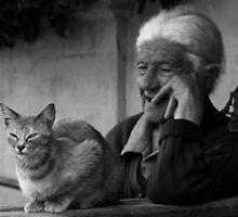 Lady with cat by Ellen van Deelen