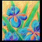 Poster, Print, 'Blue Iris On Crinkled Silk' by luvapples downunder/ Norval Arbogast