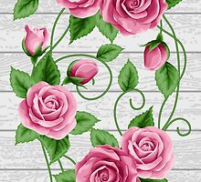 Wreath of roses on wood by NonikaStar