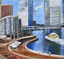 Cityscape - Ferry entering Circular Quay by Tash  Luedi Art