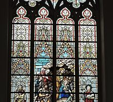 Stained glass window, St Salvator's cathedral, Bruges, Belgium by Margaret  Hyde