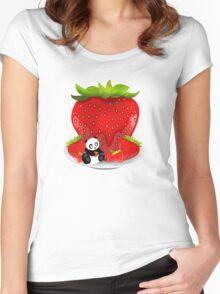 Panda & Strawberries  Women's Fitted Scoop T-Shirt