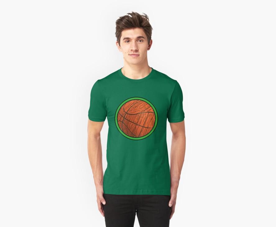 PROUD Celtics FAN!  Woodgrain Basketball by Phillip J. Mellen