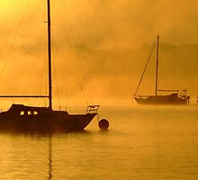 yacht at foggy sunrise by SDJ1