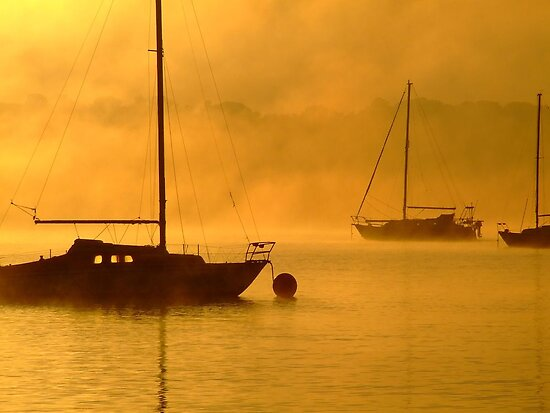 yacht at foggy sunrise by SDJ1