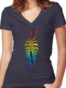 Rainbow Zebra Women's Fitted V-Neck T-Shirt