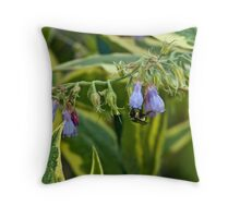 Bumble on Variegated Russian Comfrey Throw Pillow