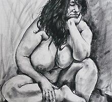 Life model resting her head by Mick Kupresanin