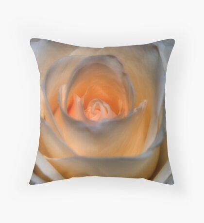 Peachy White Rose Throw Pillow