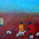 """""""Feeding the Lambs"""" outback Australia by Mary Taylor"""