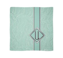 1920s Blue Deco Swing with Monogram letter U Scarf