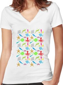 Sea Animals Pattern Women's Fitted V-Neck T-Shirt