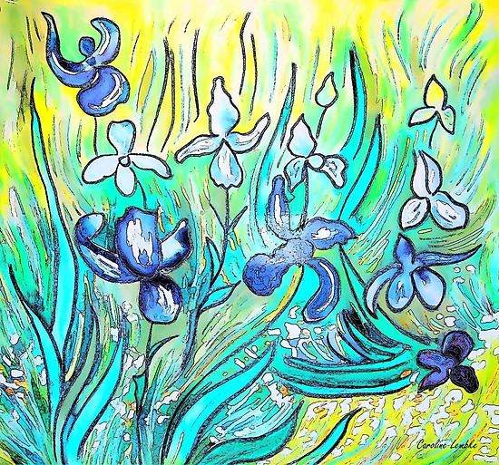 Lilies - My Hommage to Van Gogh by Caroline  Lembke