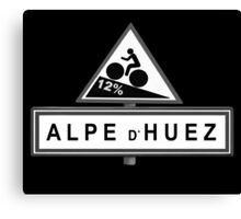 Alpe D'huez Cycling Road Sign Black and White Canvas Print