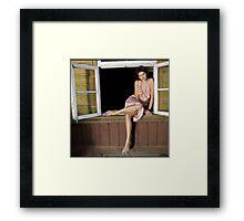 fashion model on window Framed Print