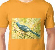 Earthy blue white Squire bird Unisex T-Shirt