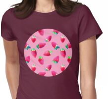 Pink Strawberry Pop Womens Fitted T-Shirt