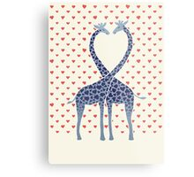 Giraffes in Love - A Valentine's Day Illustration Metal Print