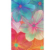 Between the Lines - tropical flowers in pink, orange, blue & mint Photographic Print