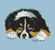 Australian Shepherd Puppy - Black Tri - T-shirt & Sticker by Barbara Applegate