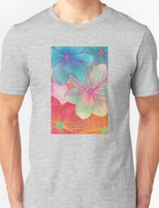 Between the Lines - tropical flowers in pink, orange, blue & mint T-Shirt