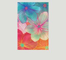 Between the Lines - tropical flowers in pink, orange, blue & mint Womens T-Shirt