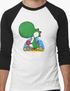 Wooly Egg Chucking Dinosaur Men's Baseball ¾ T-Shirt