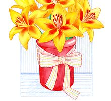 Vibrant, Yellow, Lily Morning by Laura J. Holman