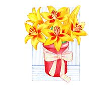 Vibrant, Yellow, Lily Morning Photographic Print