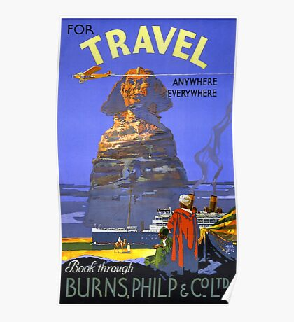 Egypt vintage travel poster Restored Poster