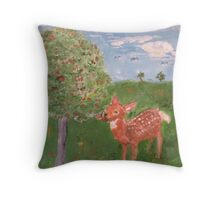 Fawn Eating Persimmons Throw Pillow