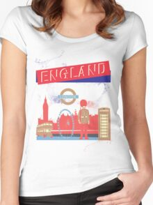 London England UK Women's Fitted Scoop T-Shirt