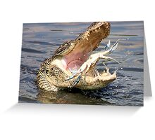 Alligator Catching a Blue Crab Greeting Card